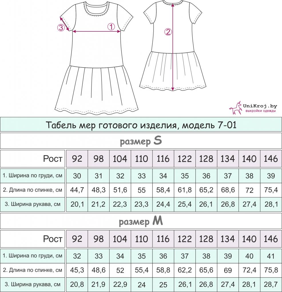 платье для девочки измерения